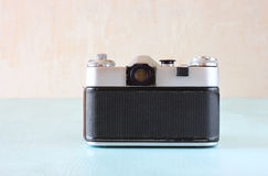 Vintage camera back view - filtered image. Royalty Free Stock Images