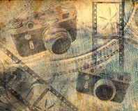 Vintage camera background. Vintage background with camera and film stripes stock illustration