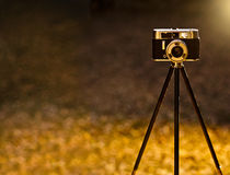 Vintage camera backlit Royalty Free Stock Photography
