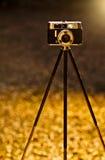 Vintage camera backlit Royalty Free Stock Image