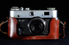 Vintage Camera on black background stock photos
