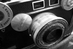 Vintage camera, black and white. Vintage rangefinder camera ca. 1939 shown in black and white in hard focus Stock Photography