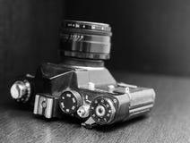 Vintage camera, black and white Royalty Free Stock Photo