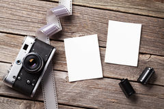 Vintage camera and blank photo frames Stock Image