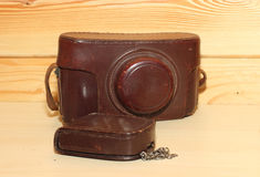 Vintage camera. In brown leather cover. Retro Stock Photo
