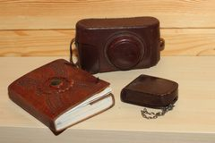Vintage camera. In brown leather cover. Retro Royalty Free Stock Photography