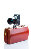 Vintage camera with case Stock Image