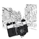 Vintage camera on a city street. Vector illustration. Architecture. Vintage camera on a city street. Vector illustration vector illustration