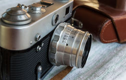 Vintage camera. Close up of a vintage camera Royalty Free Stock Photography