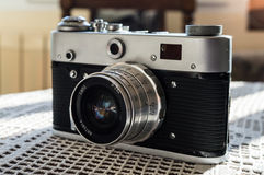 Vintage camera. Close up of a vintage camera Royalty Free Stock Image