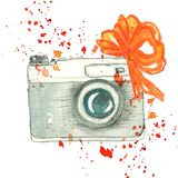 Vintage camera with color splashes and red ribbon royalty free illustration