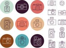 Vintage camera element, icon set Stock Photography