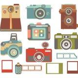 Vintage Camera Elements, Retro Camera Collection Stock Photos