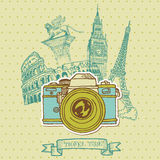 Vintage Camera with Europe Architecture Stock Photo