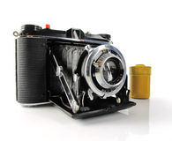 Vintage Camera with film container Royalty Free Stock Photos
