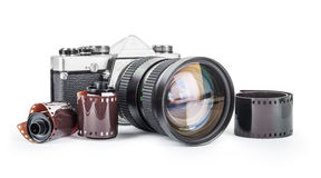 Vintage camera and film Stock Photography