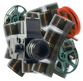 Vintage camera with film and wheels Stock Photos