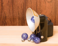 Vintage camera and flash bulbs Stock Image