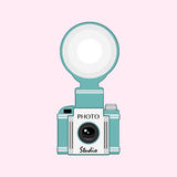 Vintage  camera with flash Royalty Free Stock Photo