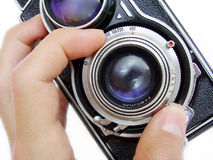 Vintage camera focusing royalty free stock images