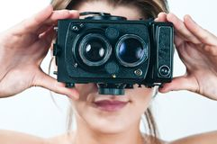 Vintage camera girl. Stock Photo