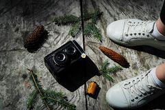 Vintage camera on a gray wooden background in the forest, the concept of wildlife,copy space. Close-up Stock Photos