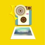 Vintage Camera Icon Vector Design Stock Images