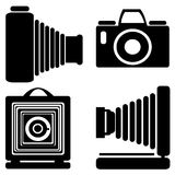Vintage camera icons isolated on white Royalty Free Stock Photos