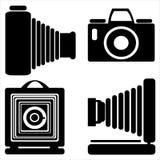 Vintage camera icons isolated on white. Background Royalty Free Stock Photos