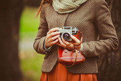 Vintage Camera In The Hands Of The Girl Stock Photography