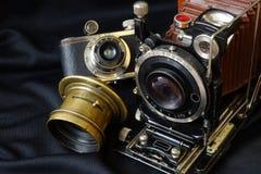 Vintage Camera.Black background. Royalty Free Stock Image