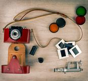 Vintage camera in a leather case Stock Photography