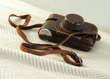 Vintage Camera in Leather Case Royalty Free Stock Image