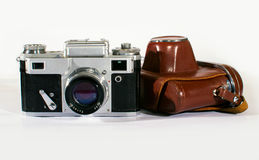 Vintage Camera with Leather Cover Stock Image