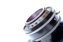 Vintage Camera Lens. Isolated on white background - shallow DOF Stock Image