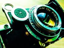 Vintage bellows camera lens. Vintage bellows medium format film camera lens close-up Stock Photography
