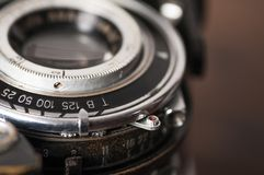 Vintage camera lens close-up royalty free stock photo