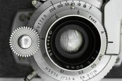 Vintage Camera Lens Closeup. MAcro of front of a vintage camera lens. Selective focus on front of lens Royalty Free Stock Photo
