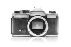 Vintage Camera without lens. SLR Camera without lens  white blackground Royalty Free Stock Photography