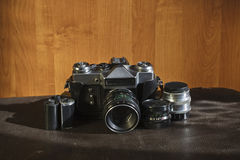 Vintage camera and lenses Royalty Free Stock Photo