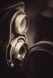 Vintage camera and lenses Stock Images