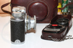 vintage camera and light meter Royalty Free Stock Image