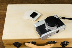 Vintage camera with luggage,concept image Stock Images