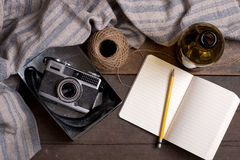 Vintage Camera and Notebook Stock Images