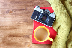 Vintage camera on old book Stock Photography