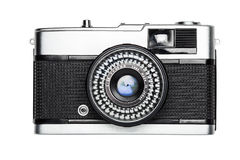 Vintage camera. Old metal vintage film camera isolated on white background Stock Photography