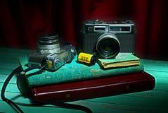 Vintage camera with old photo album Stock Photo