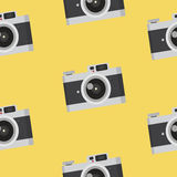Vintage camera pattern. Camera in flat style  on  background. Vintage  vector illustration Stock Images