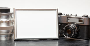 Vintage camera and photo Royalty Free Stock Photo
