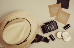 Vintage camera and photo frames Royalty Free Stock Photo